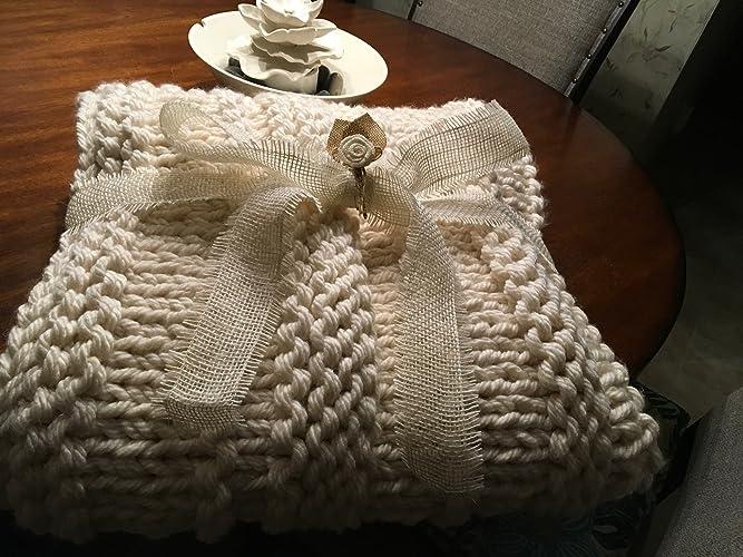 Amazon Aran Super Chunky Hand Knit Throw Blanket Handmade Adorable Aran Throw Blanket