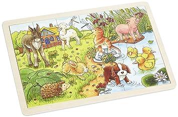 Setzpuzzle Holzspielzeug Puzzle 24 Teile goki Einlegepuzzle Tierkinder II 57890
