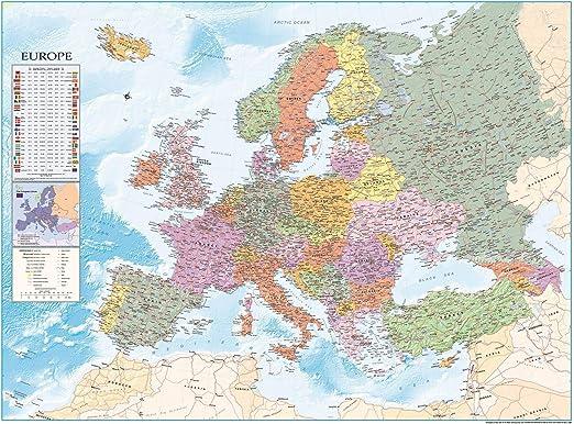 Close Up Póster XXL Mapa de Europa con Banderas y Leyenda (135cm x ...