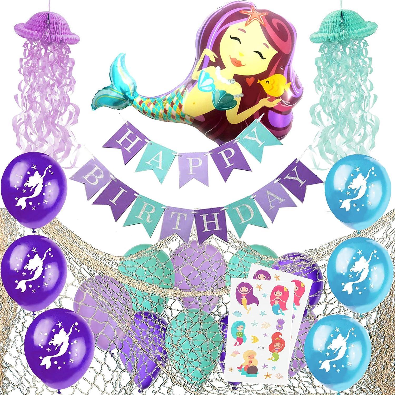 Mermaid Party Supplies – Decorative Fish Net, Fully Assembled Happy Birthday Banner, Jellyfish Honeycomb, Latex Mermaid Balloons and Giant Mermaid Foil Balloon - Mermaid Birthday Party Supplies Decorations