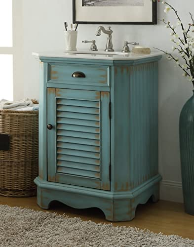 Chans Furniture 24 Cottage Look Junior Abbeville Bathroom Sink Vanity Model CF47523BU Light Blue