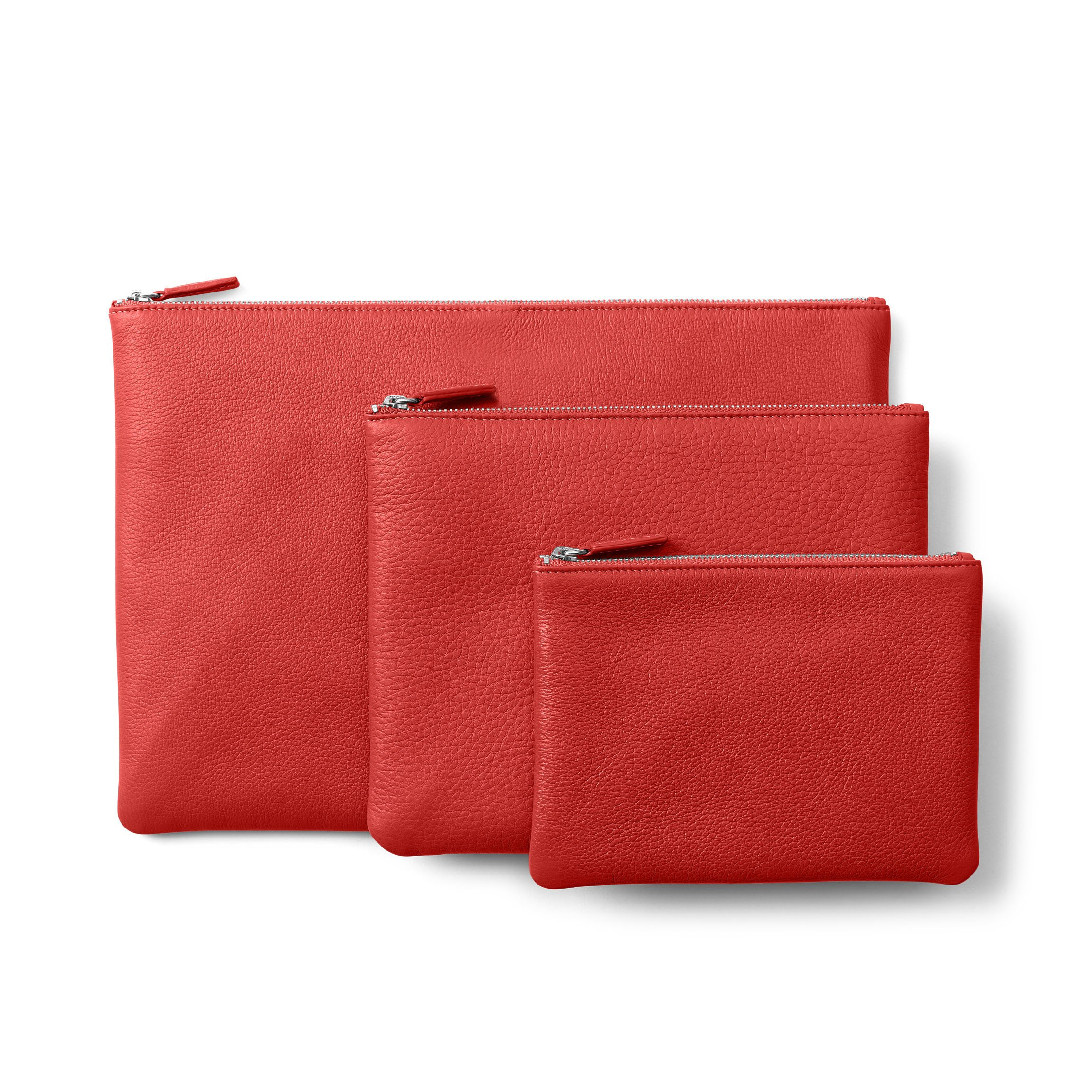 Zippered Pouches - Full Grain Leather Leather - Scarlet (red)