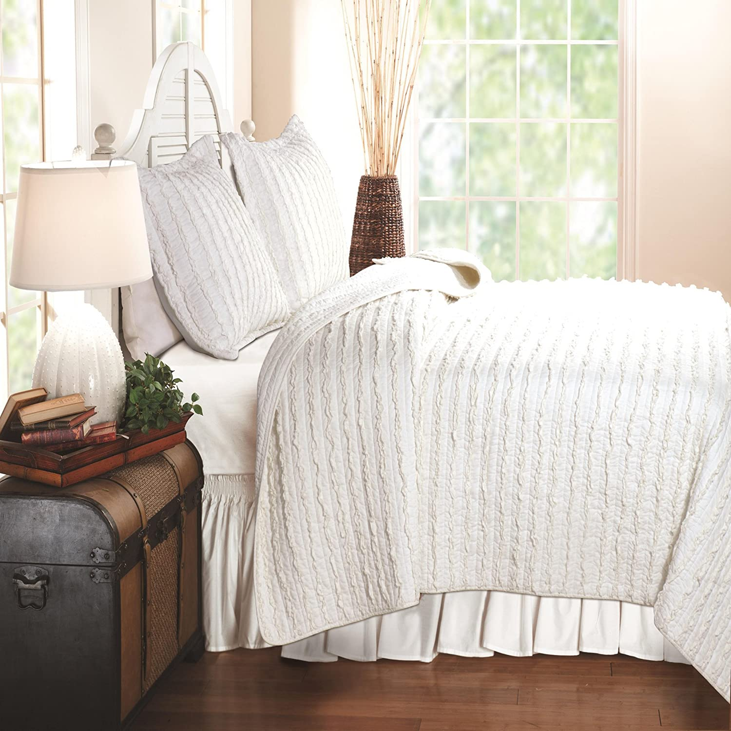 Greenland Home Fashions Ruffled - 3 Piece Quilt Set - White - King