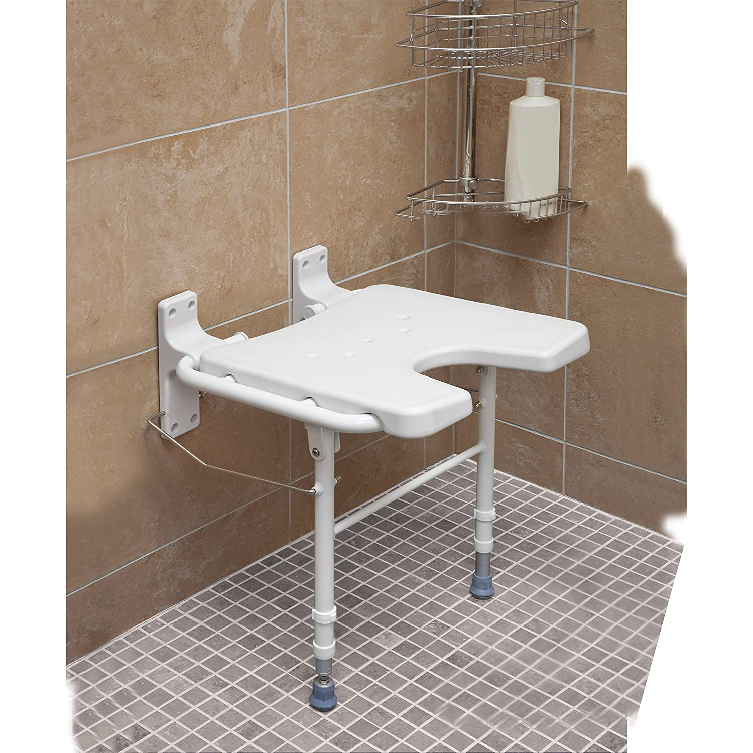HealthSmart Wall Mount Fold Away Bath Chair Shower Seat Bench with ...
