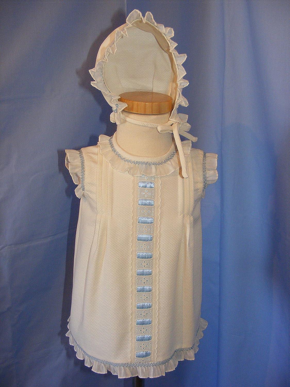 Vestido de piqué crudo con detalles celestes en el pecho: Amazon.es: Handmade