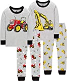 CoralBee Pajamas for Boys Kids Rocket Airplane Sleepwear Baby Girls Clothes 4 Pieces Pants Set