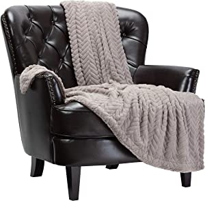 Chanasya Soft Faux Fur Embossed Throw Blanket - Solid Color Fuzzy Double Layered Super Soft Cozy Plush Elegant Throw - for Bed Couch and Living Room Décor (50x65 Inches) Taupe Gray Blanket