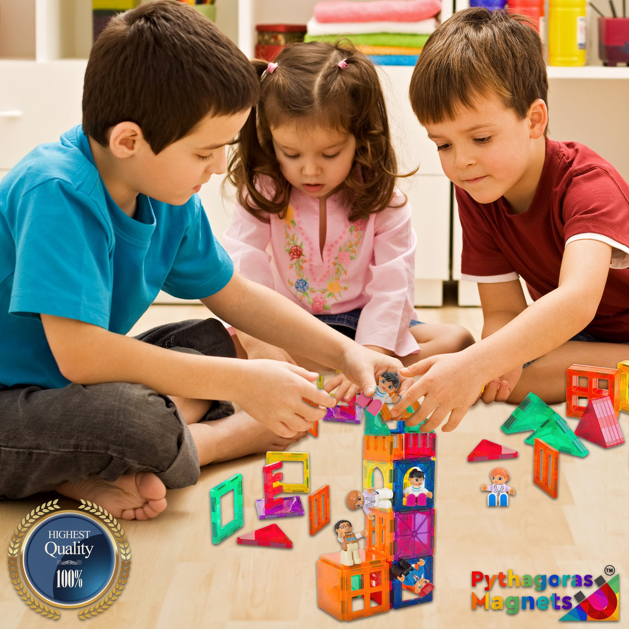 Magnetic Figures Set of 4 - Community Toy People Magnetic Tiles Expansion Pack for Boys and Girls - Pilot, Teacher, Lawyer, Coach Educational STEM Toys Add on Sets for Magnetic Blocks by Pythagoras Magnets (Image #5)