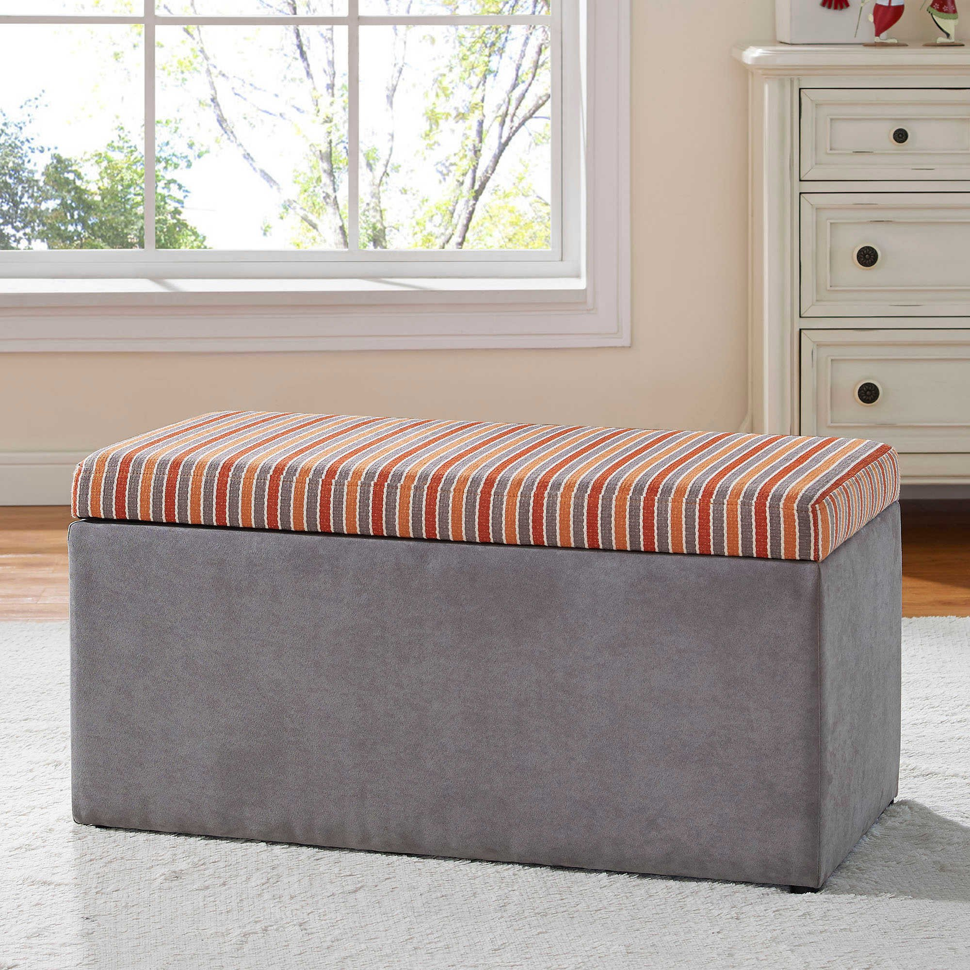 Tree House Lane Kids Upholstered Toy Chest in Orange/Grey by Generic