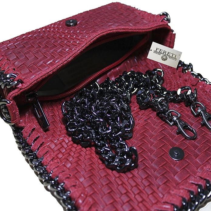 daa420995b FERETI Pochette Cuir Tresse Bandoulière Rouge Epaule Sac à Main tissé  Chaine Petit: Amazon.fr: Chaussures et Sacs