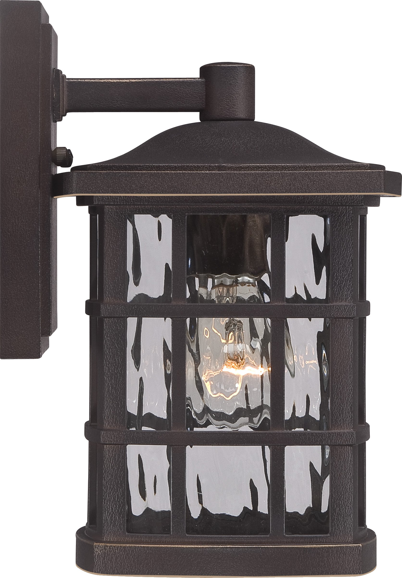 Luxury Craftsman Outdoor Wall Light, Small Size: 10.5'' H x 6.5'' W, with Tudor Style Elements, Highly-Detailed Design, Oil Rubbed Parisian Bronze Finish and Water Glass, UQL1231 by Urban Ambiance