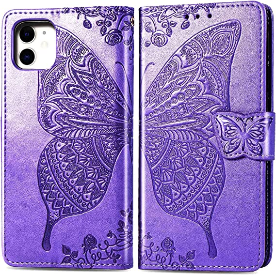 WIWJ Compatible with Samsung Galaxy A40 Case,Flower Butterfly 3D Embossed PU Leather Case with Card Holder Wallet Cover Flip Case Cover for Samsung Galaxy A40-Rose Gold