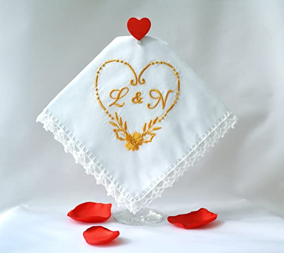 Amazon.com: Personalized wedding gifts for couple Embroidered monogrammed handkerchief unique wedding gifts Wedding day gift Initial Letter Hankerchief: ...