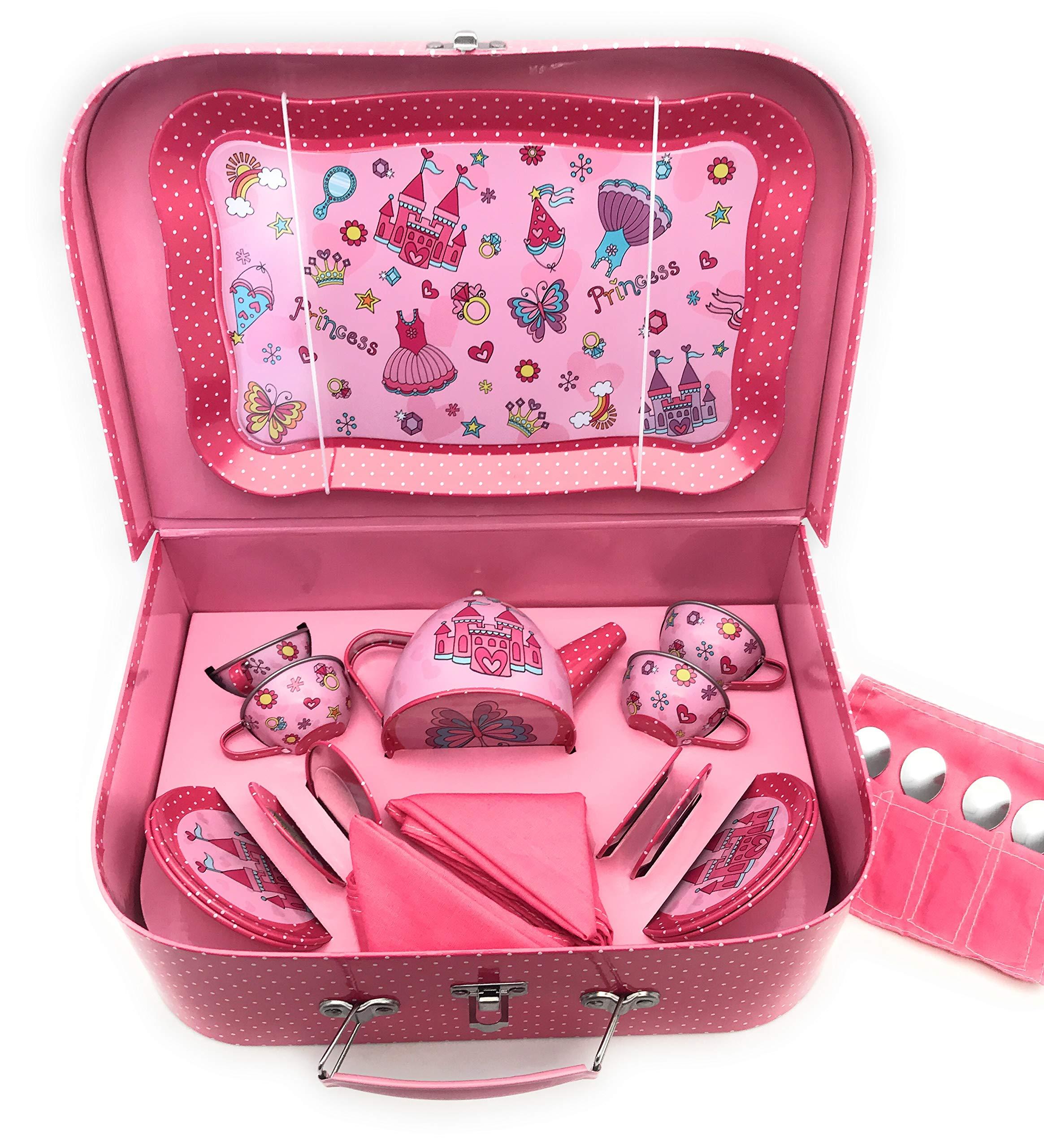 Oojami 23 Piece Childrens Pretend Tin Tea Set Including a Carrying case Princess Theme