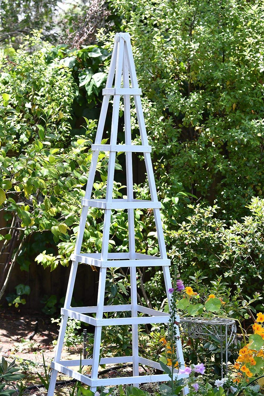Atelier Azadeh Hardwood Garden Obelisk - 6ft Natural- for Climbing Plants, Vines, Flower Stands and Outdoor Decor