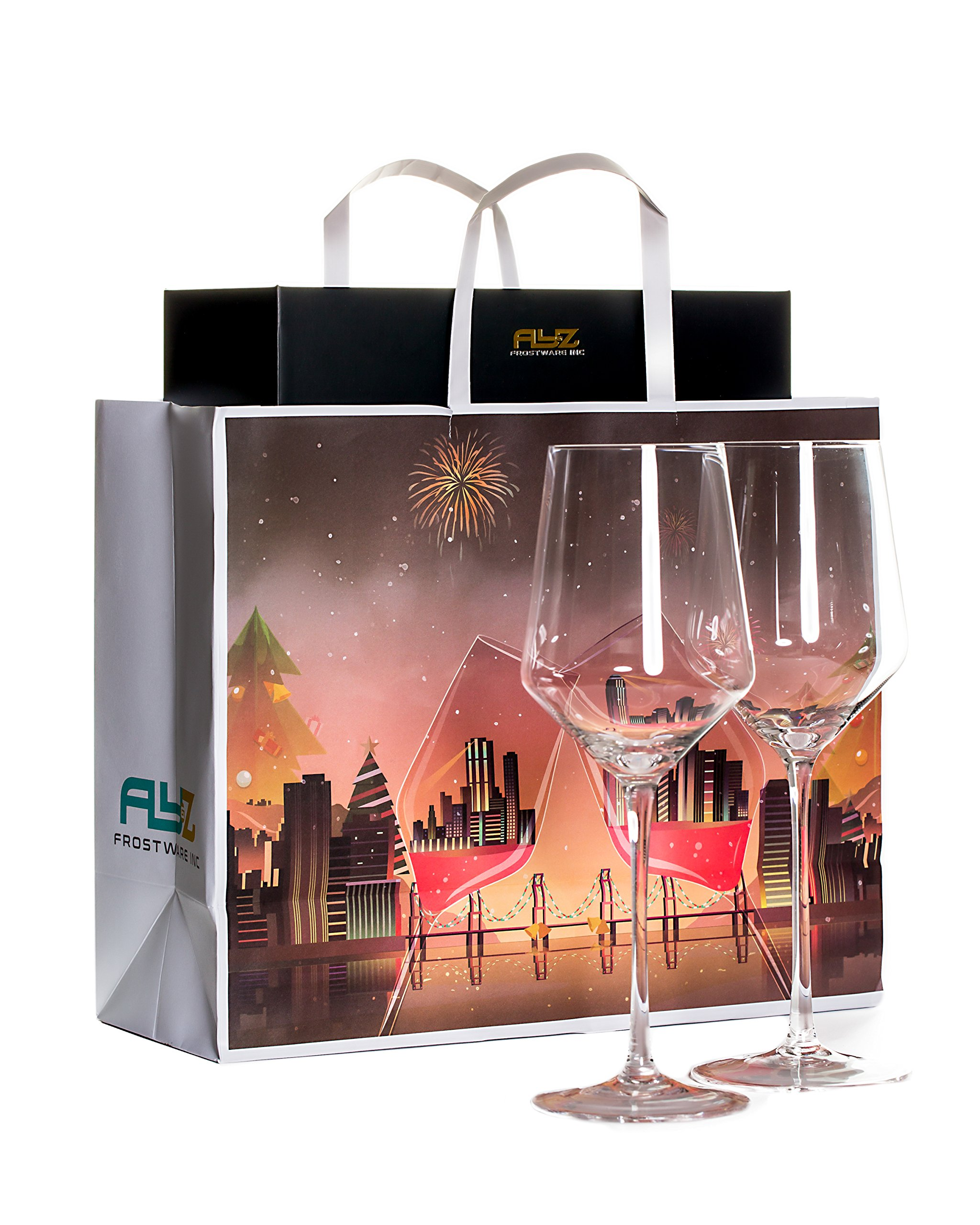 Merry Crystal- Set of 2 Clear Glass Drinking Cups - 17oz Restaurant Style Stemware - Elegant Box by Award Winning Designer with Special Xmas Bag- Unleaded - Dishwasher Safe