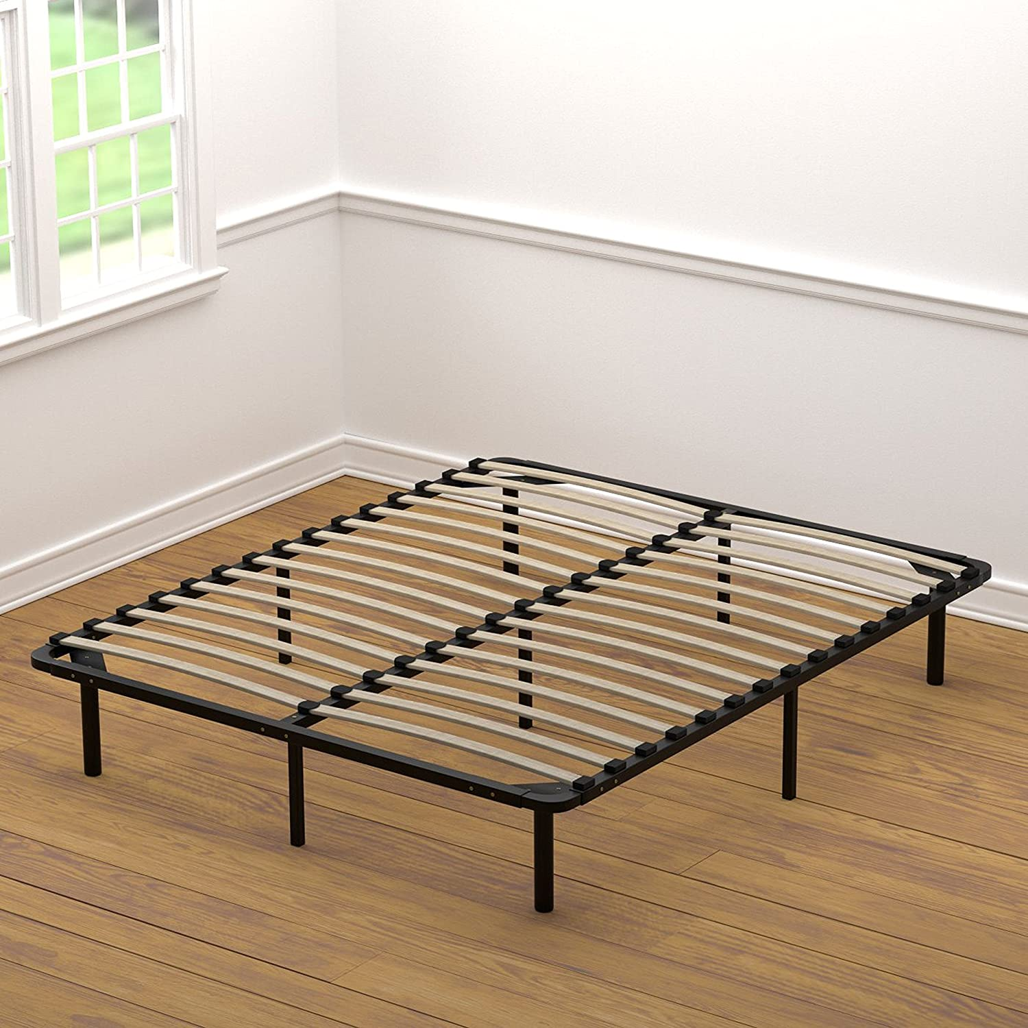handy living wood slat bed frame queen black steel metal mattress holder new - Bed Frames Queen