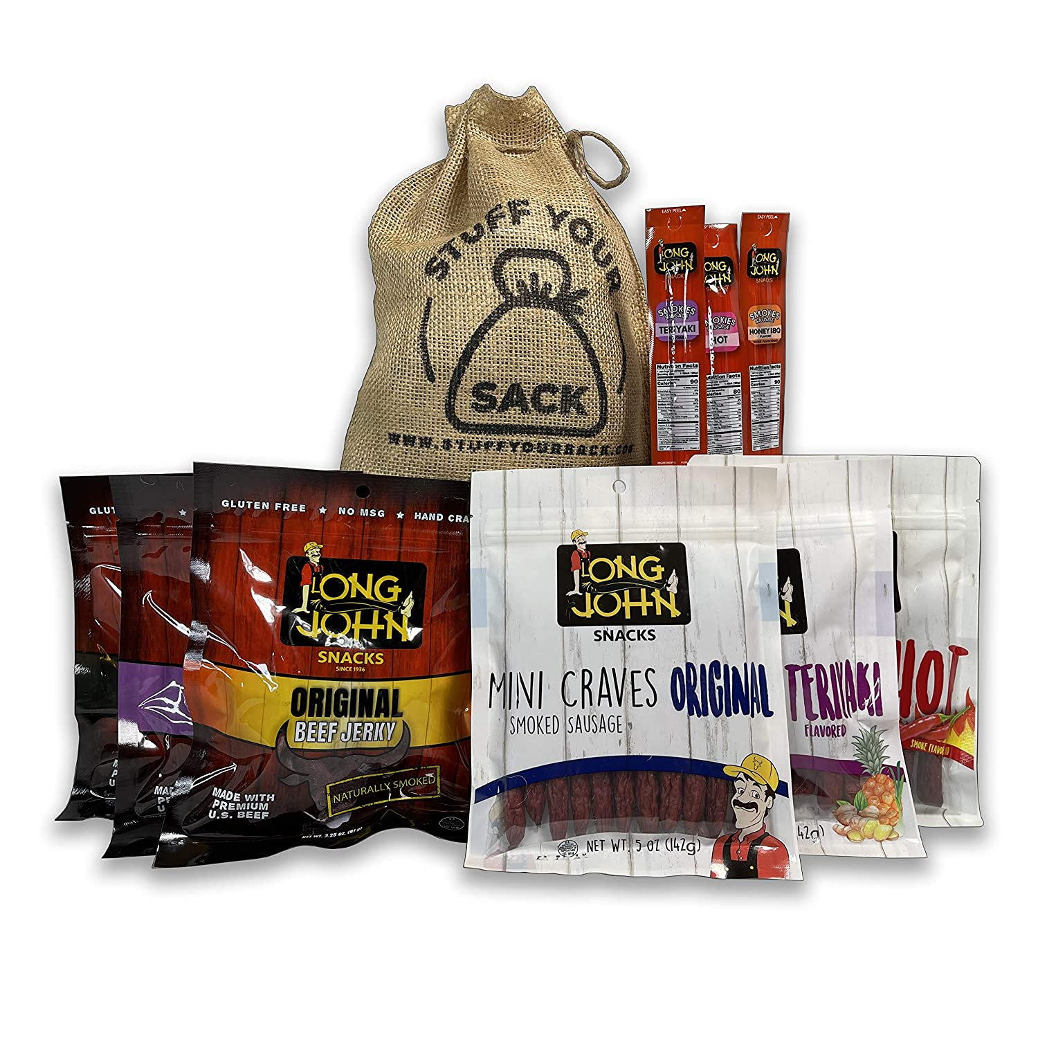 Long John's Beef Jerky Box 1 3/4 Pound Sampler Sack | High Protein, Low Carb, American Beef | Meat Snack Stick Sampler Gift Basket | Gift for Men - Military Care Package - Father's Day Gift - 9 Items