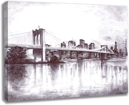 INTALENCE ART Brooklyn Bridge New York City Night View Black and White Wall Decor
