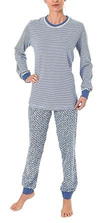 Oberteil Tupfen Optik Normann Damen Pyjama Schlafanzug langarm mit Bündchen