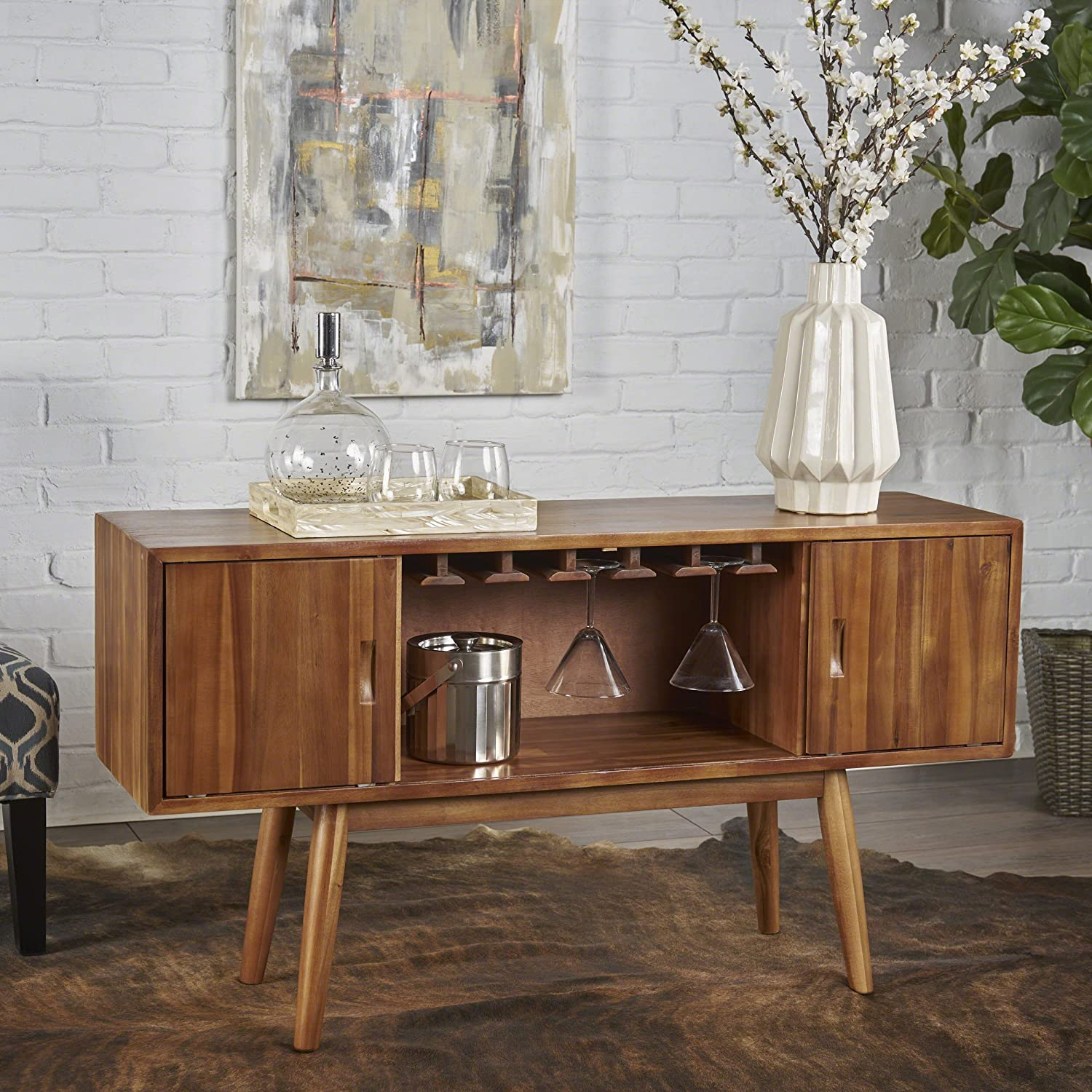 Mid Century Modern Light Oak Wood Wine Cabinet Great Deal Furniture