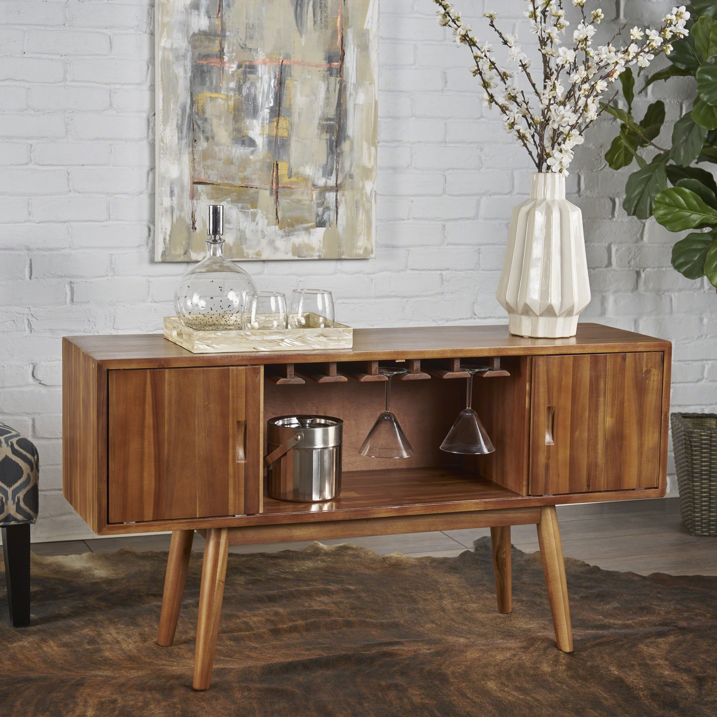 Mid Century Modern Light Oak Wood Wine Cabinet by Christopher Knight Home