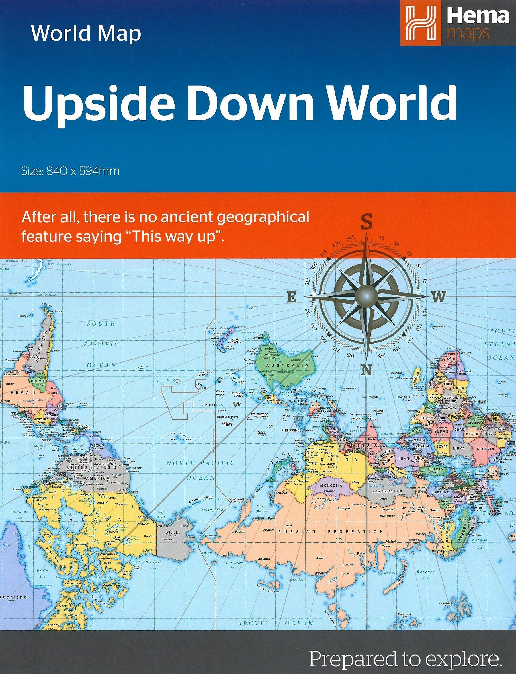 Upside Down World Map (Folded): Hema Maps: 9781925195118: Amazon.com ...