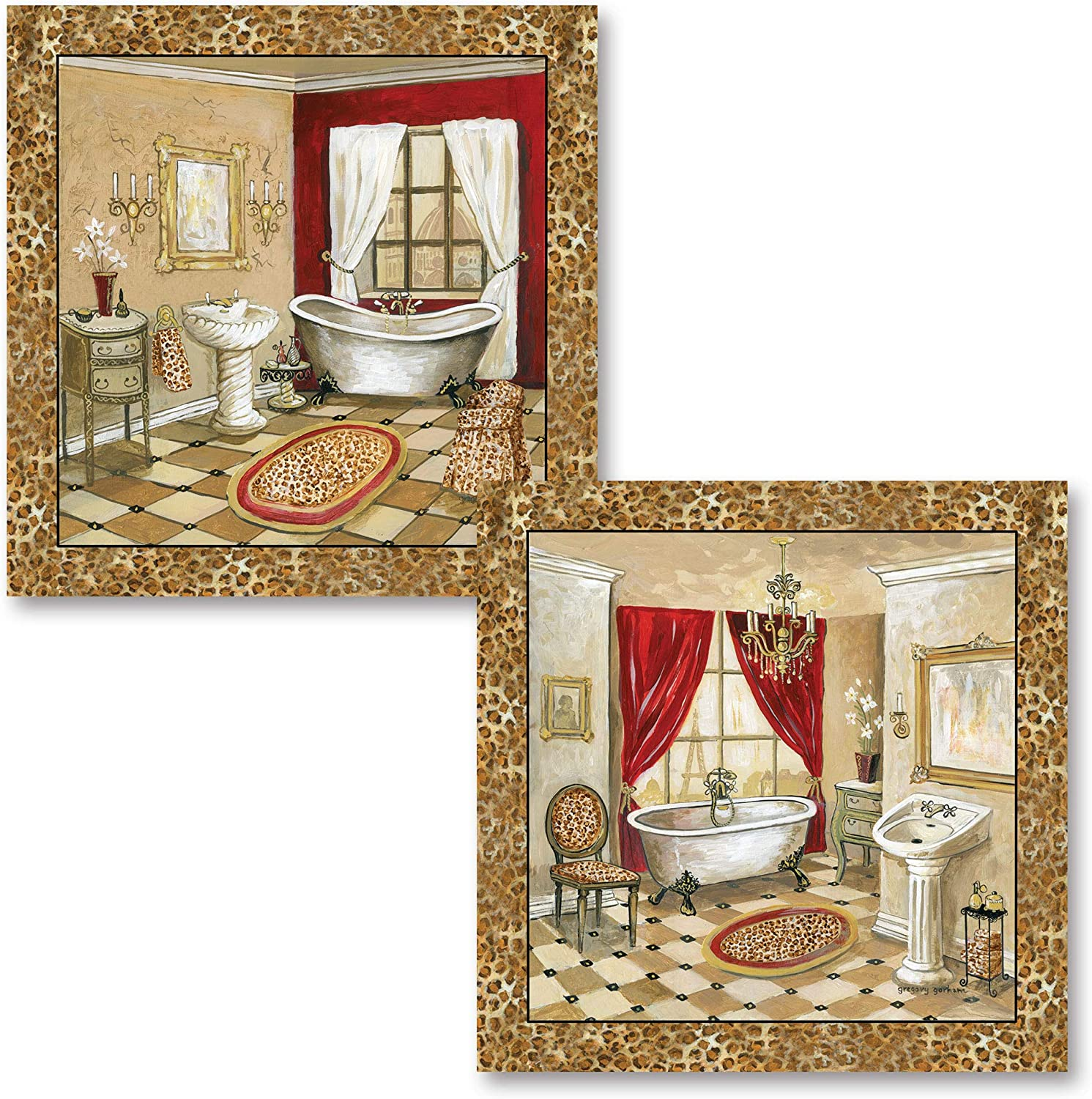 French Inspired Leopard Print Florentine Clawfoot Bathtub and Sink Set by Gregory Gorham; Two 12X12 UNFRAMED Paper Posters (Border Is Part Of Print)