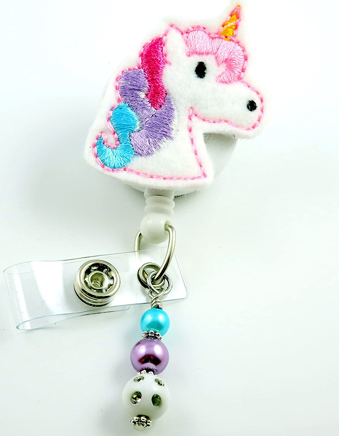 Ascrafter Unicorn Retractable Badge Holder Clip ID Name Card Badge Reel Alligator Clip