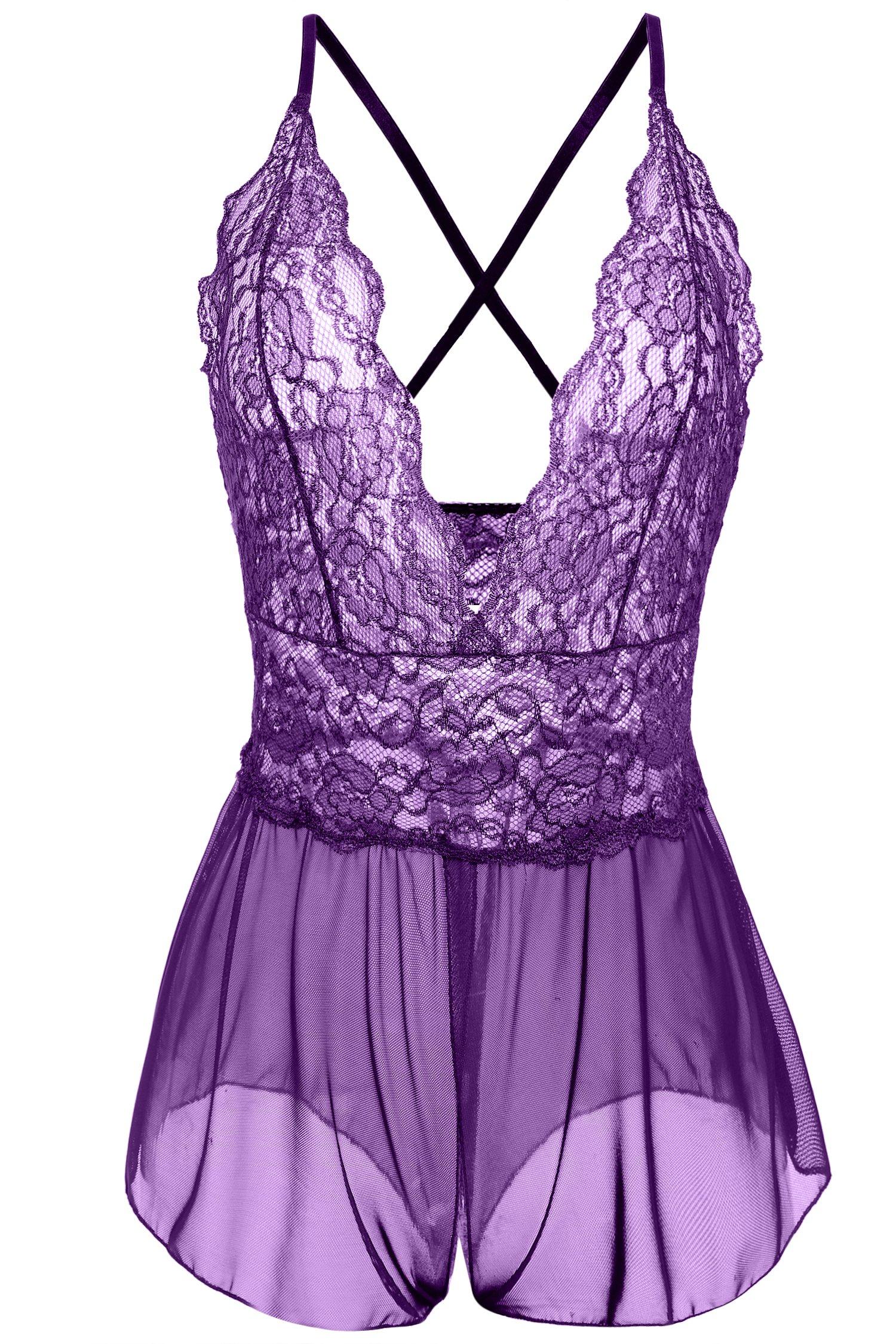 Avidlove Women Sexy Lingerie Lace See-Through Babydoll Open Crotch Pant Dress (XXL = US XL, Purple (FBA))