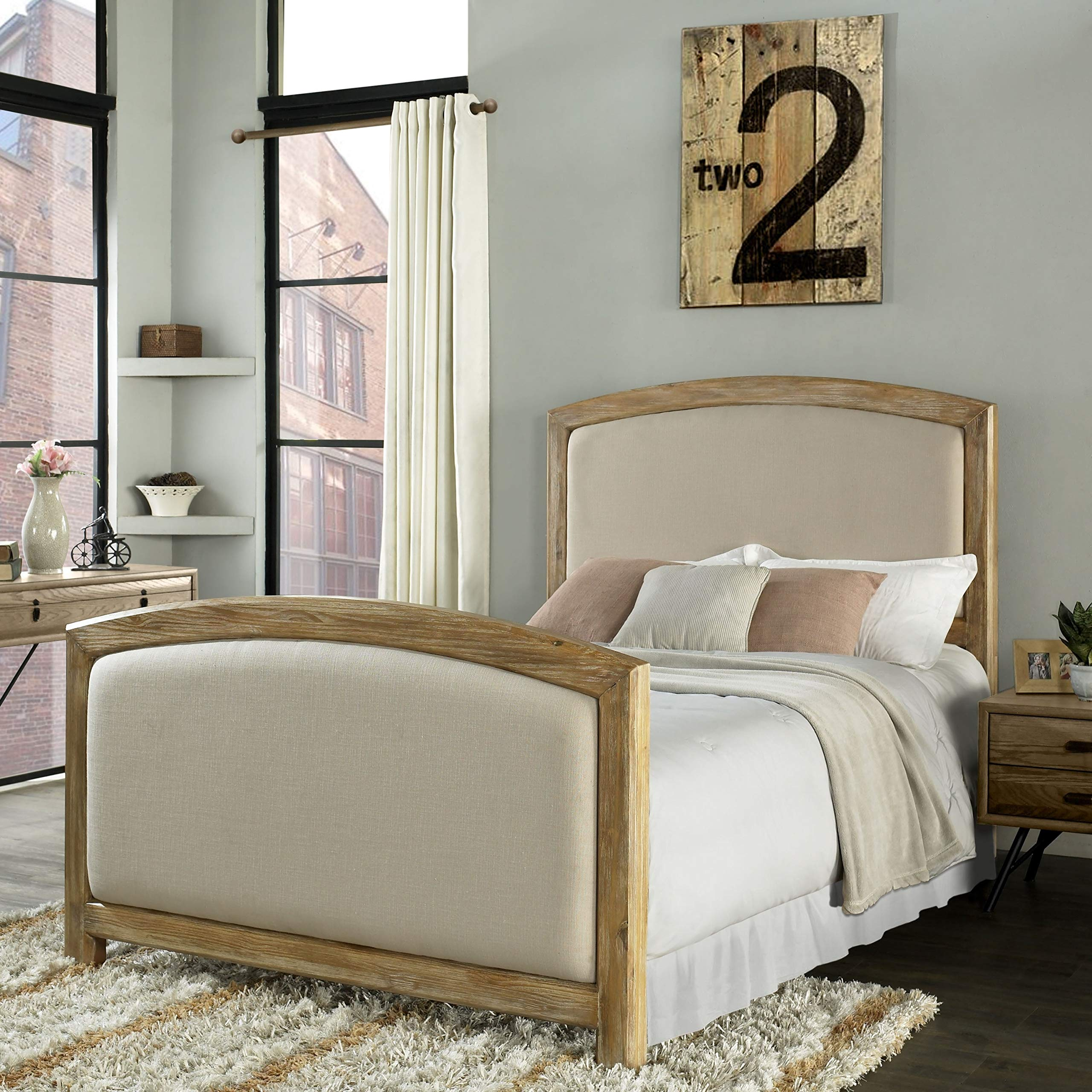 Cambria Queen Headboard and Footboard in Weathered Pine Crème Linen Cream Traditional by Unknown