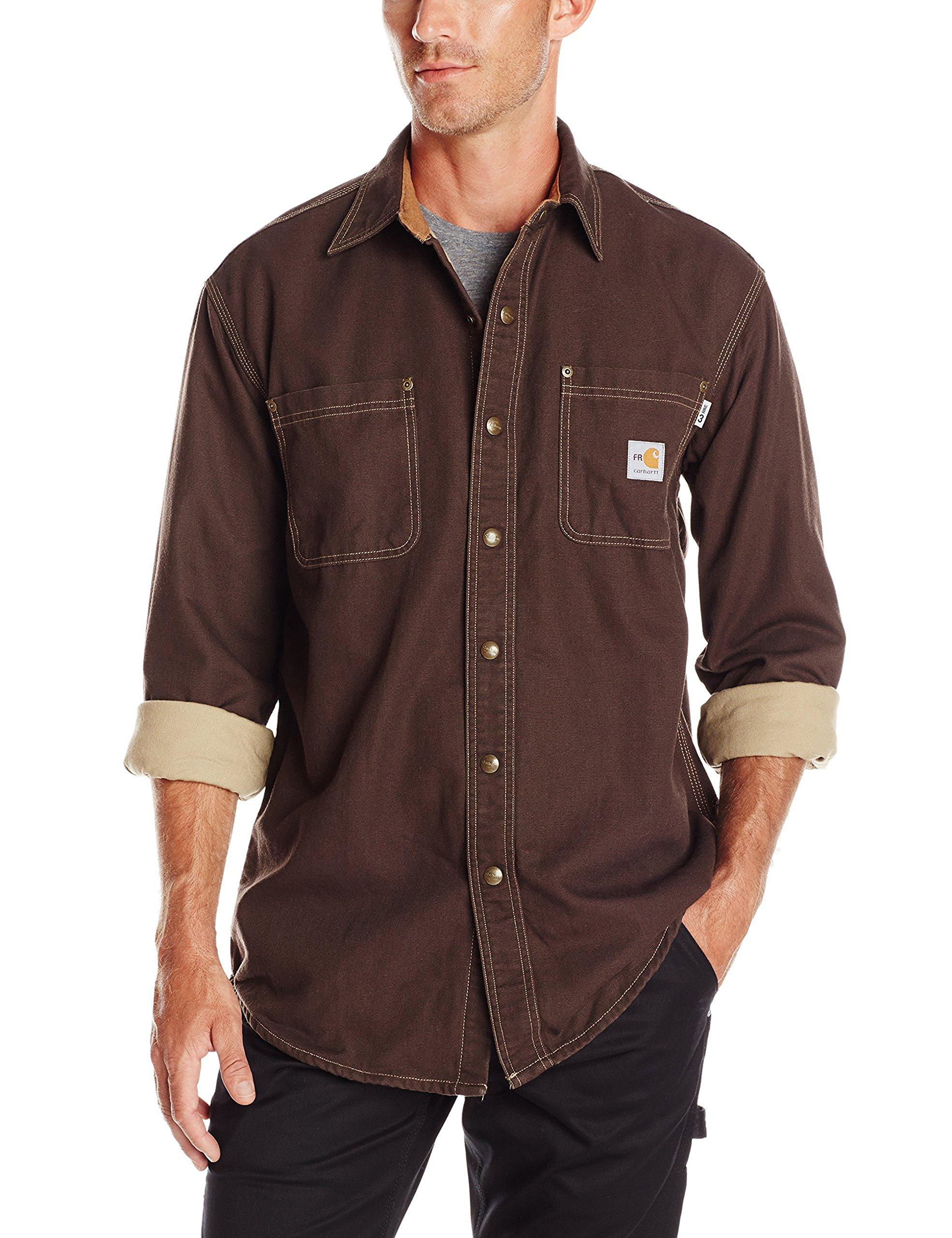 Carhartt Men's Flame Resistant Canvas Shirt Jacket,Dark Brown,Large by Carhartt