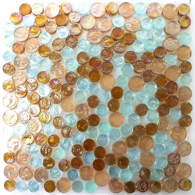 Glasmosaik Fliesen Knopfmosaik Petrol Mix