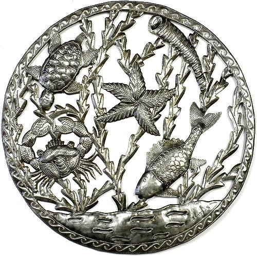 Global Crafts 24 Recycled Handmade Haitian Metal Wall Art Sea Life, Fish and Sea Life