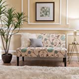 Devlin White and Blue Floral Fabric Love Seat