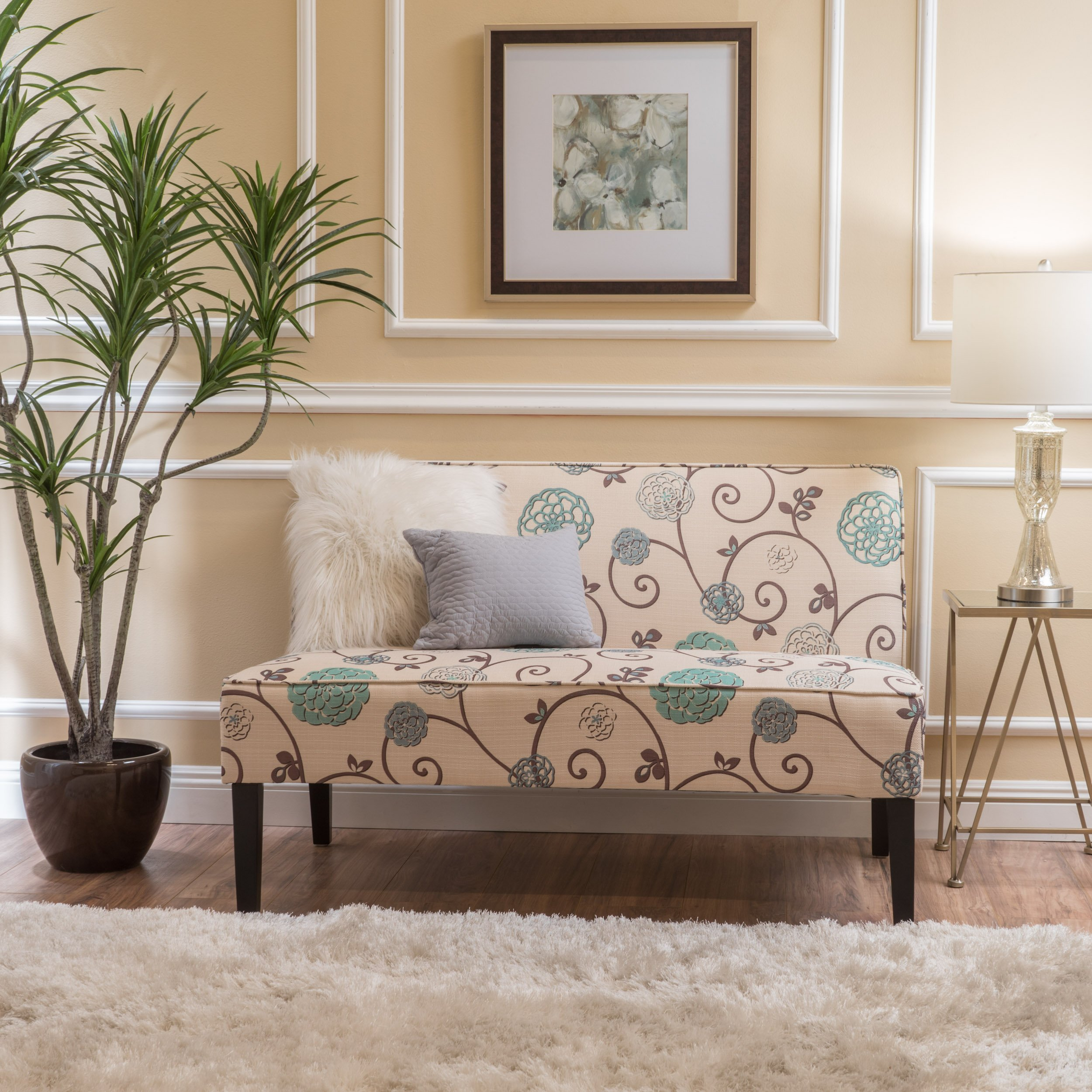 Christopher Knight Home Devlin White and Blue Floral Fabric Love Seat by Christopher Knight Home