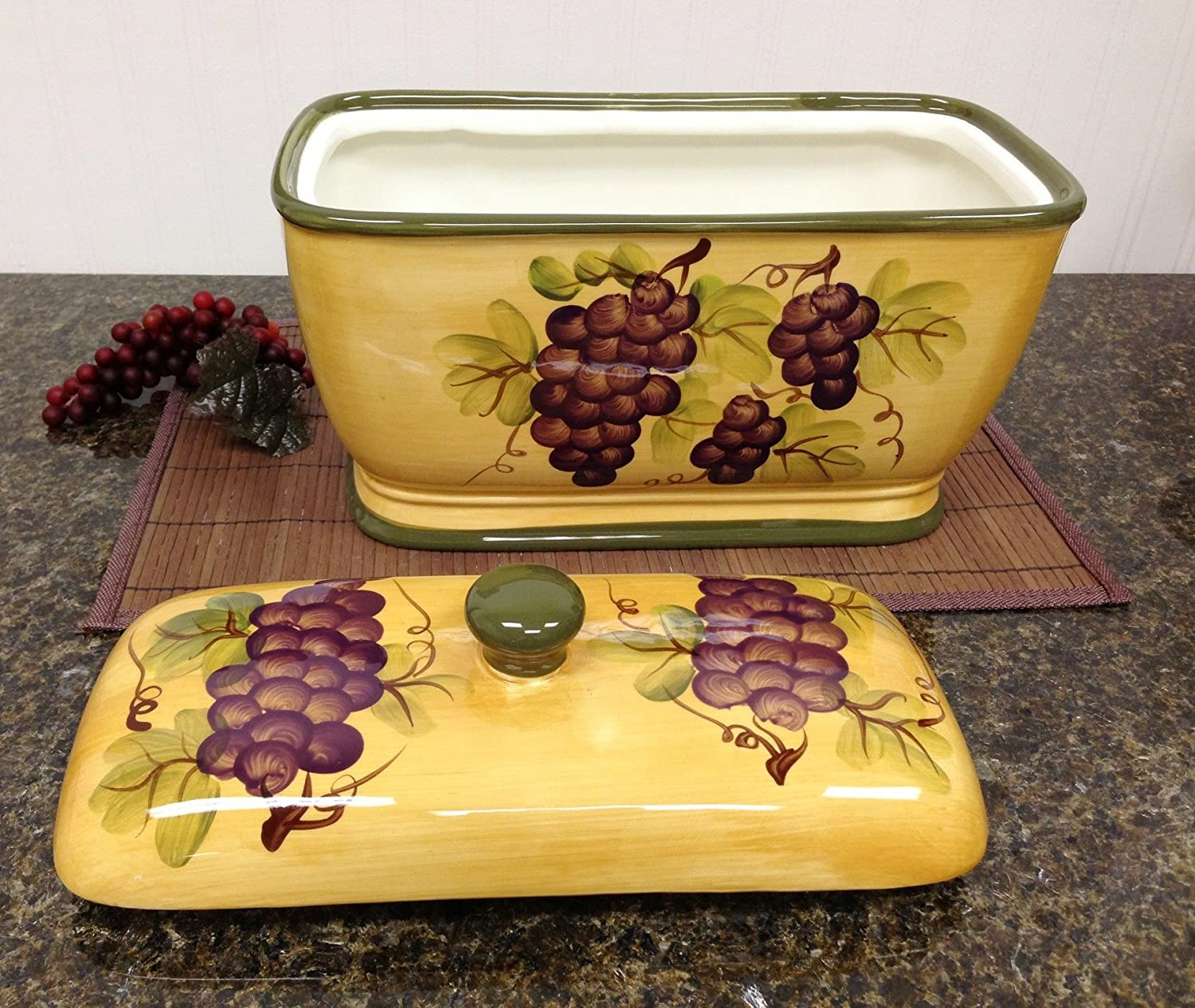 Amazon Com Kitchen Decor Grape Desing Tuscany Wine Bread Canister Box Grapes And Dining