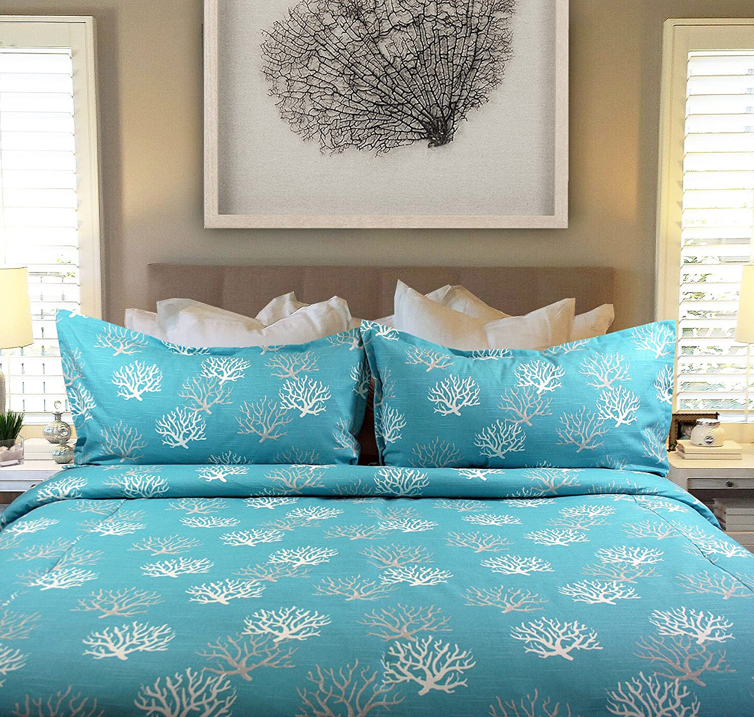 Dean Miller Surf Bedding Coral Reef Blue - Duvet Cover with Matching Shams (Queen/Full)