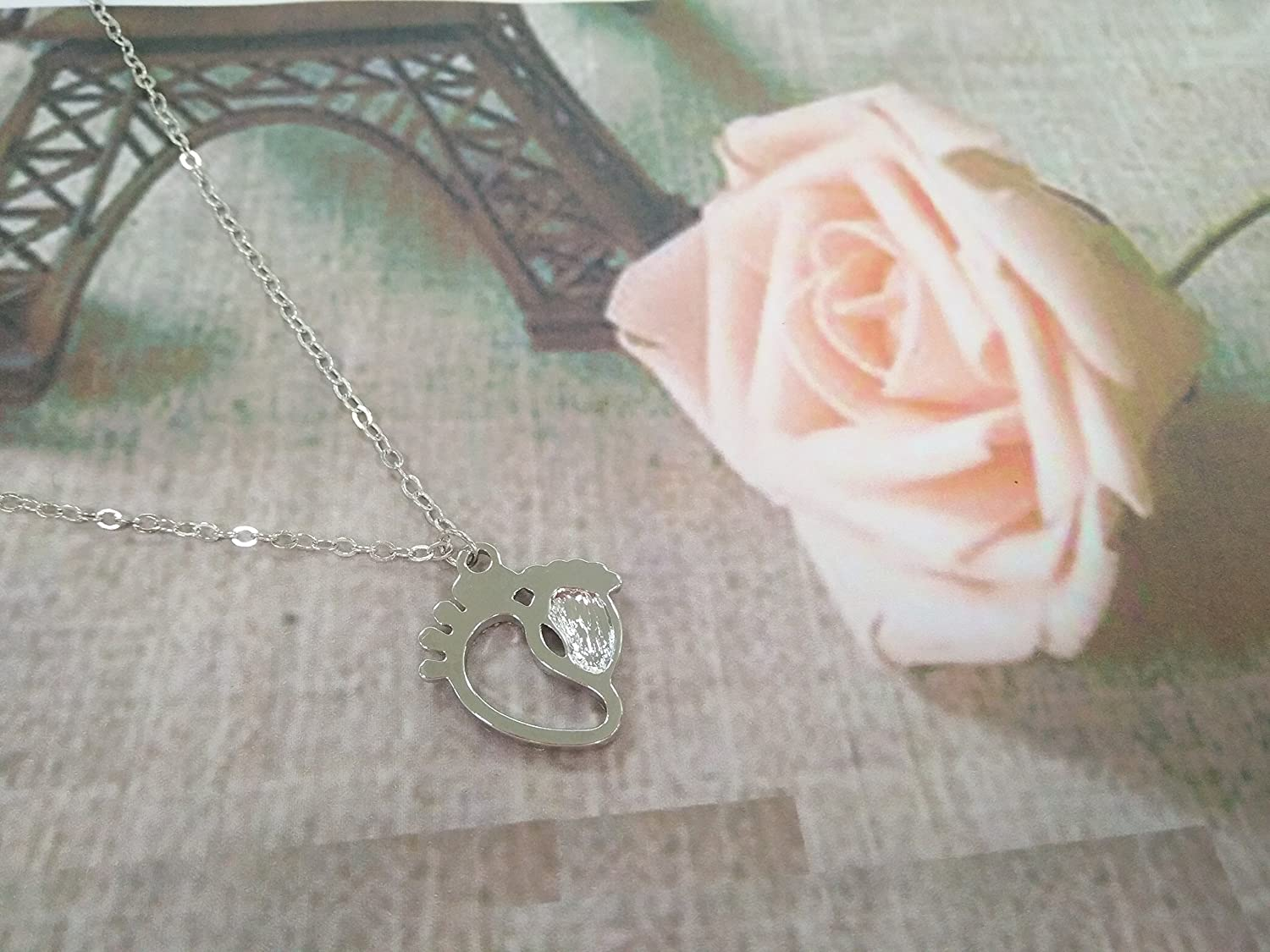 PANGRUI Crystal Mom and Child Footprint Pendant Necklace,Full of Love
