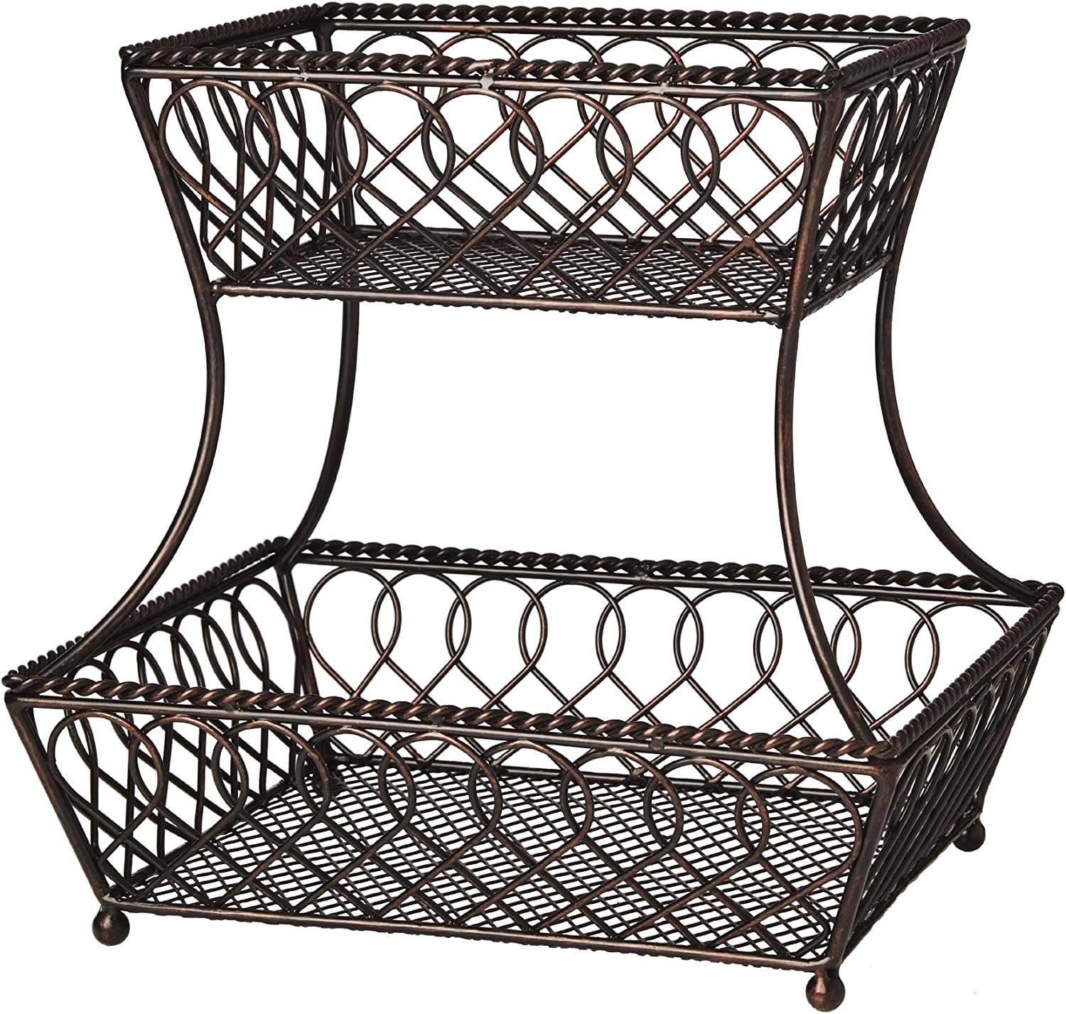 Gourmet Basics by Mikasa 5201553 Loop and Lattice 2-Tier Metal Rectangular Fruit Storage Basket, 14-Inch, Antique Black