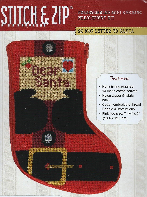 Stitch /& Zip Letter to Santa Mini Stocking Needlepoint Kit
