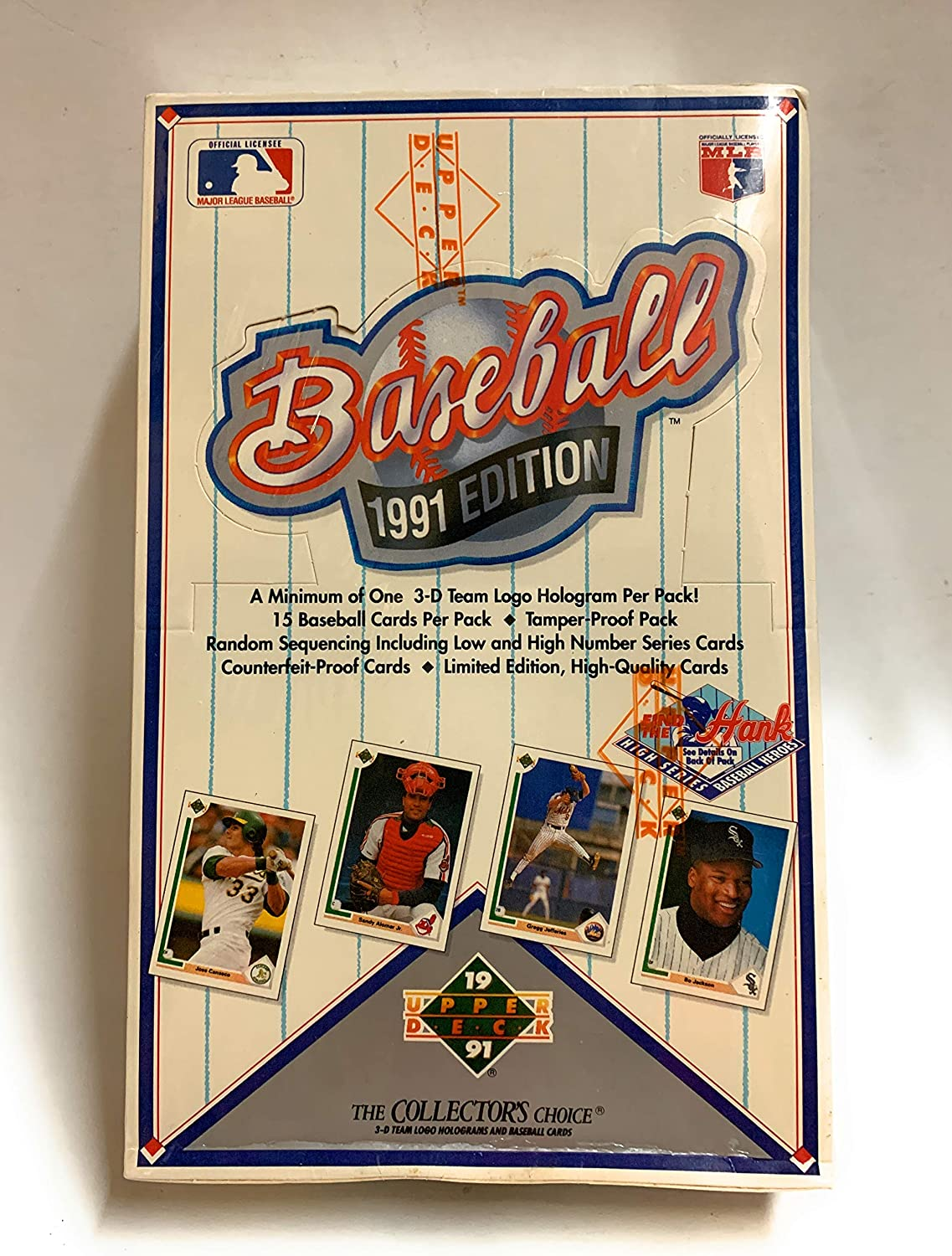 1991 Upper Deck Baseball Cards Series 1 Pack 15 cards per pack, possible Chipper Jones Rookie Card!