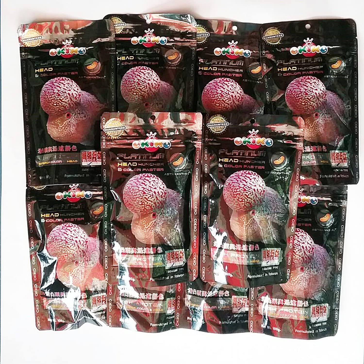 OKIKO 12 Packs of 3.5 oz (100g) Platinum Head Huncher & Color Faster Floating Pellets with Astaxanthin Plus Flowerhorn Cichlid Fish Food