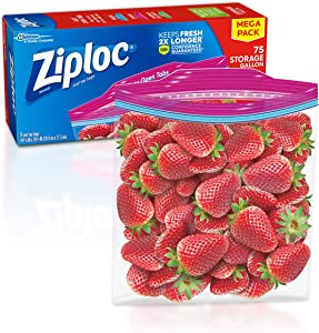 Ziploc Storage Bags Gallon, 75 Count