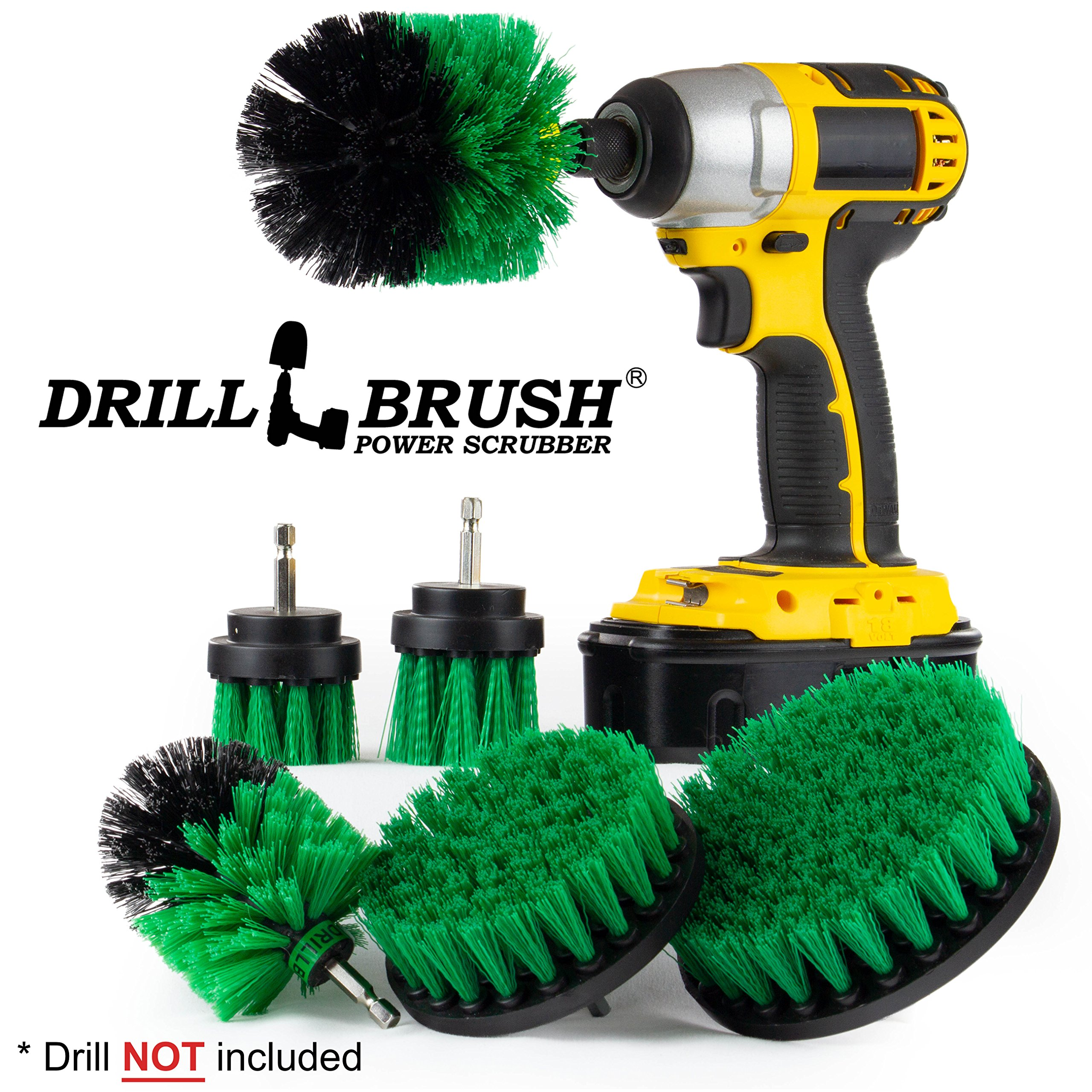 The Ultimate Kitchen Cleaning Supplies Drill Brush Attachment Kit/Kitchen Cleaning Brush Set/Electric Spin Scrubber/Household Cleaners/Counters, Stove, Oven, Sink, Baseboard, Trash Can, Floors