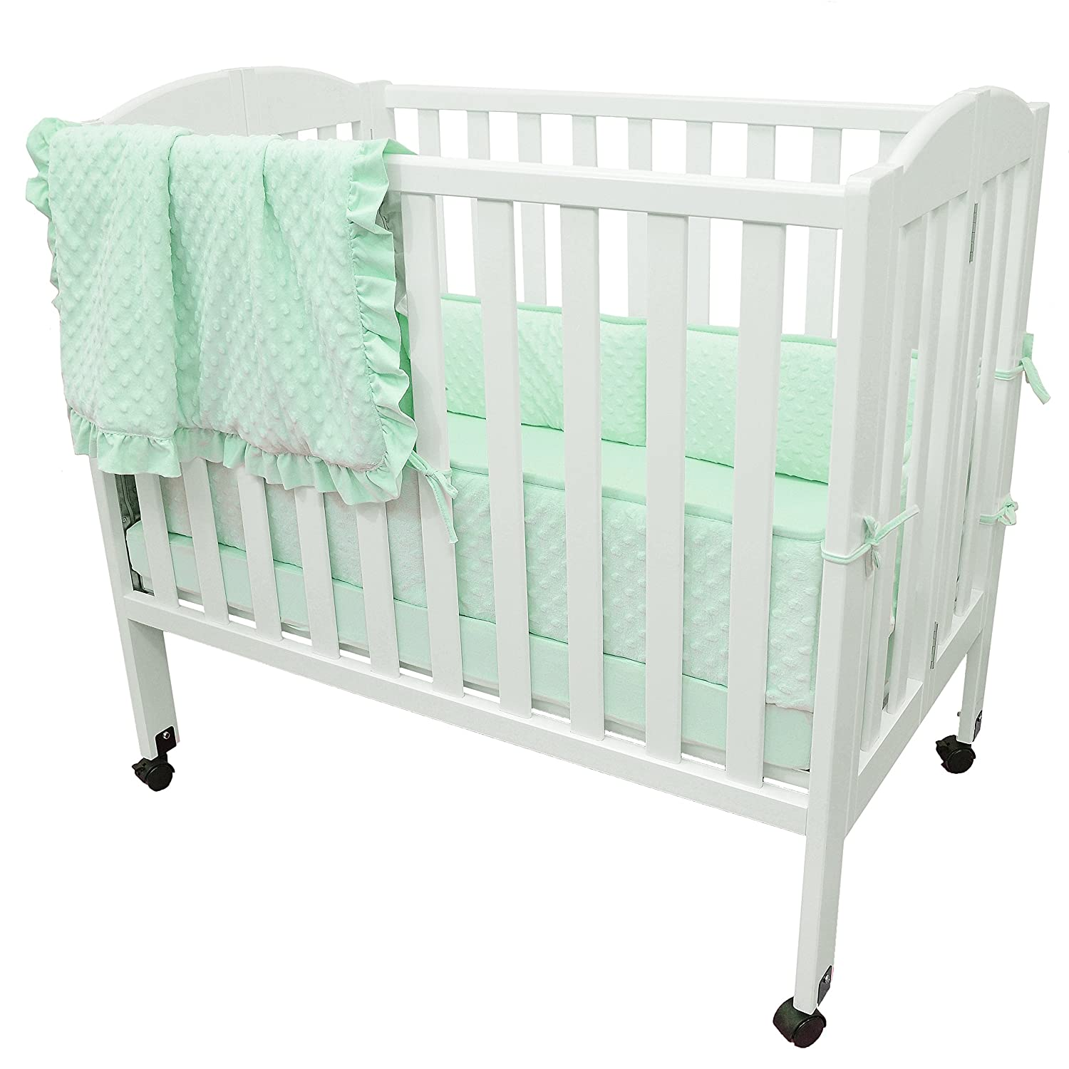 American Baby Company 3 Piece Heavenly Soft Chenille Portable/Mini Crib Bedding Set, Minky Dot, Mint, for Boys and Girls