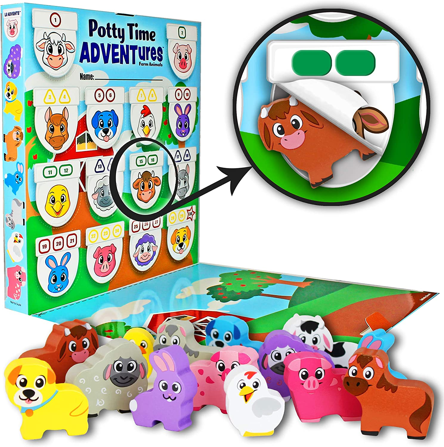 Lil ADVENTS Potty Time ADVENTures Potty Training Game - 14 Wood Block Toys, Chart, Activity Board, Stickers and Reward Badge for Toilet Training, Farm Animals
