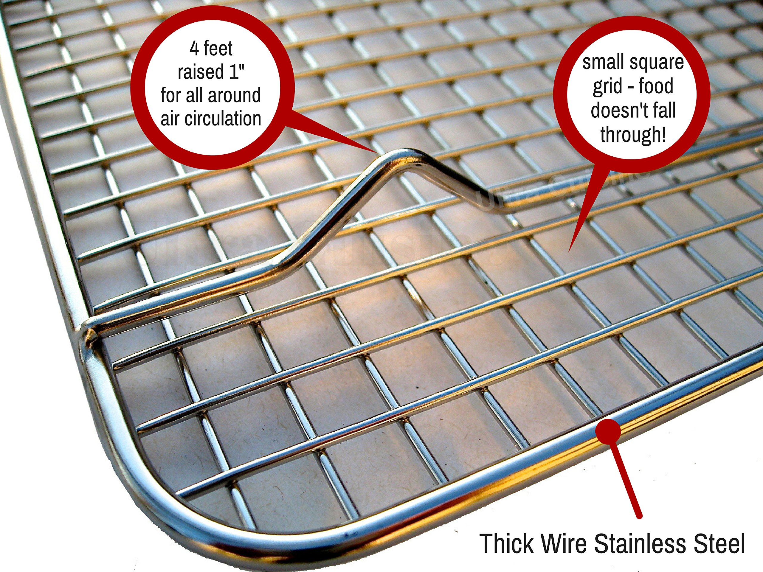 Cooling Baking & Roasting Racks for Quarter Sheet Size Pans - 100% Stainless Steel Wire Racks for Cooking - Dishwasher & Oven Safe, Rust Resistant, Heavy Duty by Ultra Cuisine (8.5'' x 12'' - Set of 2) by Ultra Cuisine (Image #6)