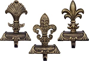 Lulu Decor, Metallic Gold cast Iron Fleur de lis Christmas Stocking Holders, Set of 3 Strong Sturdy Hooks on a Strong Wide Base, Sophisticated Hooks, Beautiful Mantel Decoration (3 Piece Set)