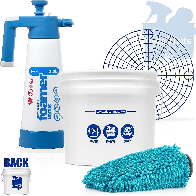 Detailmate Car Hand Wash Set Gritguard Wash Bucket 3 5 Gal Approx 13 L Foamer Chenille Wash Mitt Detailmate Set Kwazar Auto